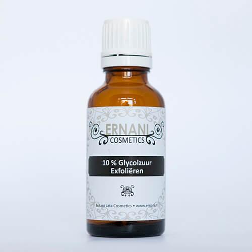 Foto van een 30 ml flesje met glycolzuur 10%.