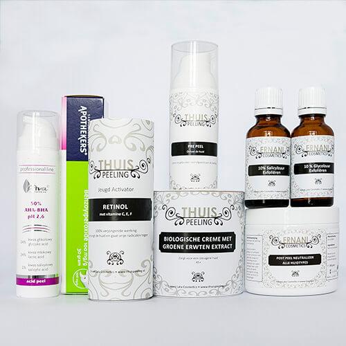 Foto van verschillende producten die de huid met acne rustiger zullen maken.