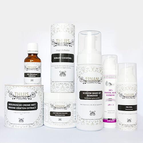 Foto van verschillende producten die grove porien zullen verminderen.